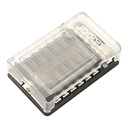 SANON Caja de Fusibles Porta fusibles 12 Vías Portafusibles con Lámpara de fusibles de 12 circuitos para código de barras camión rv marino dc 12-24v Diseño de LED indicador