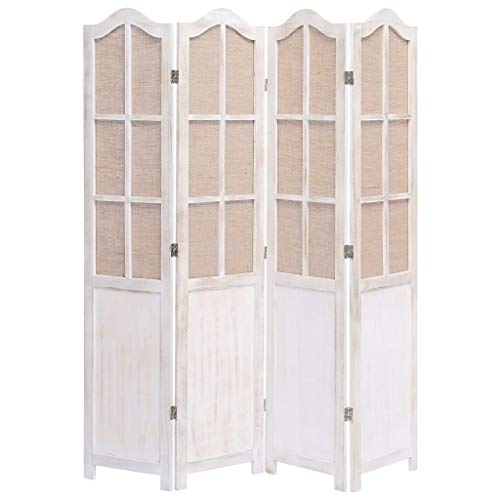 UnfadeMemory Biombo Divisor Plegable de Tela para Crear Privacidad,Biombo de Pie,Divisor para Habitación o Sala de Estar,Estilo Vintage,Estructura de Madera de Paulownia (4 Paneles-140x165cm)