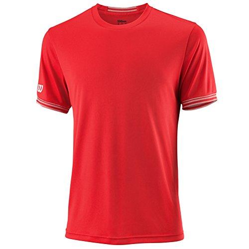 Wilson Herren Tennis-Kurzarmshirt, M Team Solid Crew, Polyester, Rot/Weiß, Größe: 2XL, WRA765305