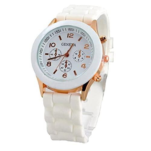 fregthf Las Mujeres de Cuarzo analógico Reloj de Pulsera Elegante Correa de Silicona Reloj de Pulsera Regalo de cumpleaños Blanca