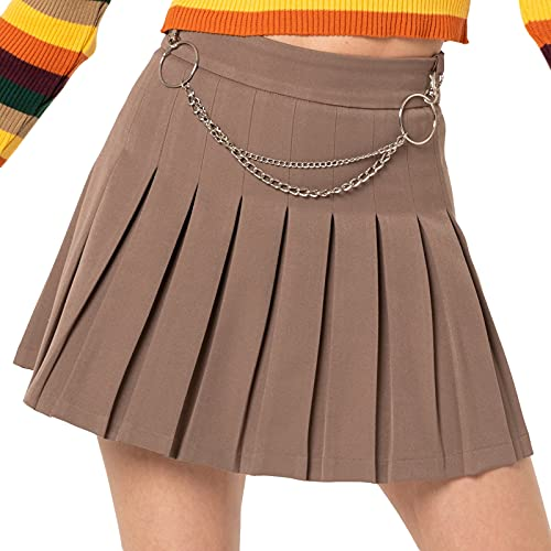 Women's Pleated Mini Skirt Flare Chain Belt Short A-Line Party Skirt High Waist Goth Y2k Skirt Sexy E Girl Clothing (Brown, XX-Large)
