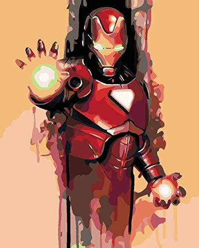 Pintura por número Kits Superhero DIY Pintura guiada por números para Adultos y niños Decoraciones para el hogar 40x50cm Sin marco