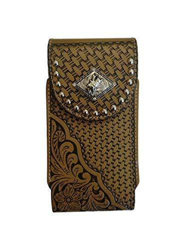Western Cowboy Smartphonehalterung aus Leder mit Korbmuster und Blumenmuster, XL-7.5''x3.75''x0.5~1'', Bullrider-Brown-Loop