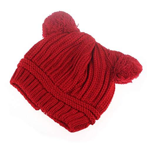 SH-RuiDu Gorro de punto de ganchillo para niñas pequeñas de invierno, rosso, 12 Meses