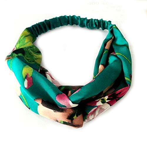 NoraHarry Femmes Doux Bandeaux rétro imprimé Mesdames Croix Knot Bandeaux élastiques Turban Couvre-Chef Headwrap Scrunchie Accessoires Cheveux (Color : Dark Green)