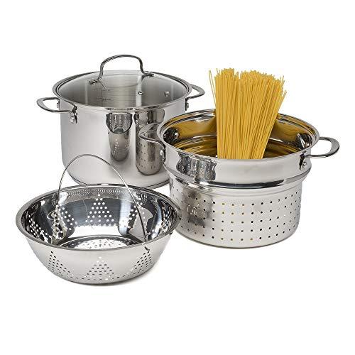 Goodful Stainless Steel 8 Quart Multi-Cooker Cookware Set, 4 Piece Pasta/Steamer