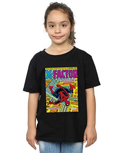 Marvel Universe Niñas Spider-Man X Factor Cover Camiseta Negro 7-8 Y