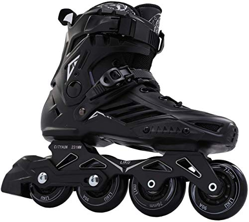 LIKU Black Professional Inline Skates Unisex (Men 10.5,Women 11.5)