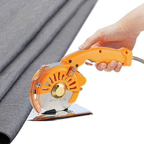 WICHEMI Electric Cloth Cutting Machine Fabric Cutter Round Knife Cloth Cutter Multi-Layer Fabric Cutters Shears Cloth Scissors Rotary Blade Cutter Handheld Fabric Cutting Tool, 100 mm/4 Inch
