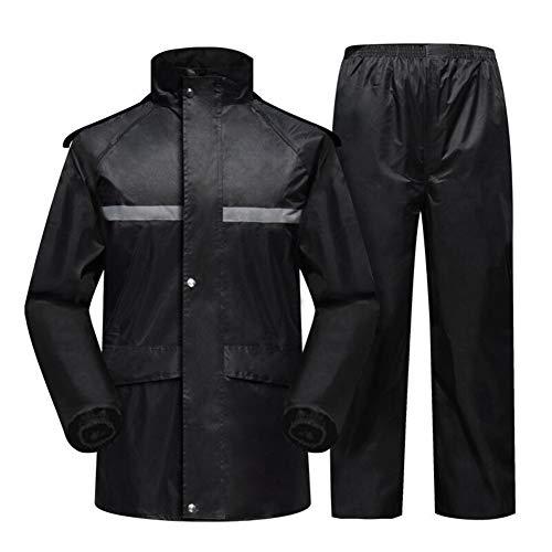 Wasserfester Mantel Schwarz reflektierende Sicherheits Raincoat Split Anzug, Aktivitäten geeignet (Size : XL)