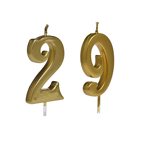 MMJJ Gold 29th Birthday Candles, Number 29 Cake Topper for Birthday Decorations