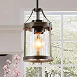 LNC Farmhouse Mini Faux Wood Pendant Lighting with Clear Cylinder Glass Shade for Kitchen Island, Bedroom, Foyer and Entryway , Brown
