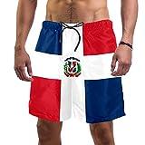 Idealiy Dominican Republic Flag Swim Trunks Elastic Swimsuit Board Shorts for Men,XXL