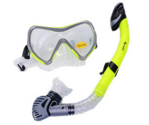 Neon Gelb Anti-Fog Apnoe Maske & Schnorchel-Set Schnorchelbrille