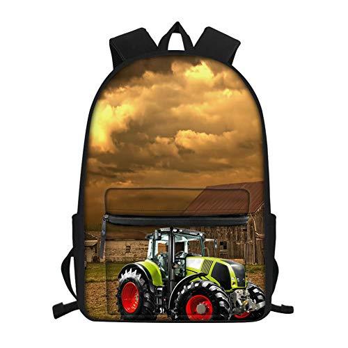 Holzhaus und Traktormuster der dunklen Wolke Schulrucksack,Schultasche für Teenager,Schultasche für Jungen Mädchen Buchtasche Reißverschluss Schultasche