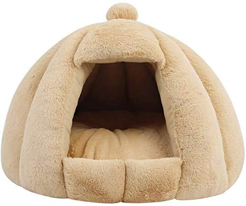 DHGTEP Cama con Capucha para Perros y Gatos con Almohada Extraíble y Lavable, Cueva para Gatos, Cama Cálida para Cachorros, Conejos y Gatitos, de Felpa Suave (Color : Khaki, Size : 50X43cm)