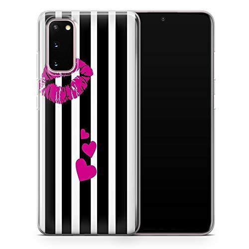 Funda para Samsung Note 20 Ultra - Delgada Delgada Suave TPU Silicona Bumper, Kissing Lips (Negro Rosa Blanco) - Diseño 2 - A30