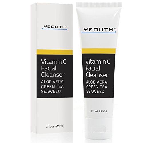 Vitamin C Facial Cleanser Infused with Aloe Vera, Green Tea and Sea Weed from YEOUTH - Soothing, Calming, Deep Penetrating Pore Face Wash for Radiant Skin - Formulated For All Skin Types