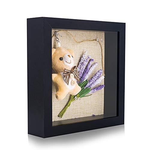 GraduatePro 3D Bilderrahmen zum Befüllen mit Glas für Objekte Tiefer Schwarz 20x20 Fotorahmen Shadowbox Memorabilia Bouquet Medaillen