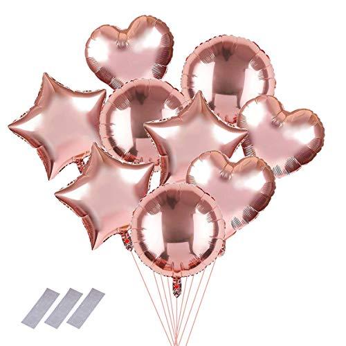 """9 piezas Globos redondos de corazón/estrella/corazón de oro rosa, globo de estilo de mezcla de helio de aluminio de 18"""", decoración para fiesta, cumpleaños, baby shower, boda, disfraces"""