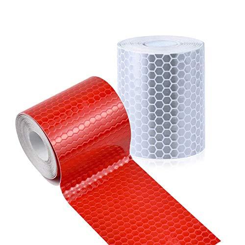 Nastro Riflettente Adesivo, 2 Pcs 5cm * 3m XCOZU Nastro Riflettentes Adesivo ad Alta Intensità, Nastro Catarifrangente Adesivo Impianti di Trasporto Stradale Promemoria di Sicurezza, Bianco e Rosso