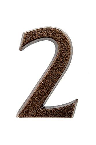 HUBER número de casa 2 de aluminio 10 cm I números de casa para puerta - placas de número de casa en noble diseño de cobre antiguo 3D, con recubrimiento de polvo
