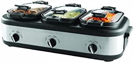 Triple 2.5-Quart Slow Cooker with Non-Stick Aluminum Pots and Locking Lids