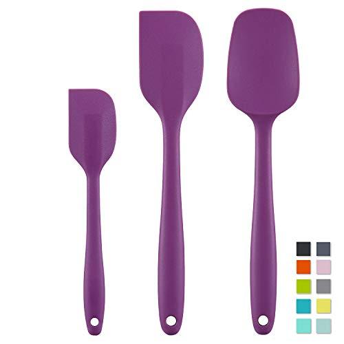 Cooptop Silicone Spatula Set - Rubber Spatula - Heat Resistant Baking Spoon & Spatulas - Pro Grade Non-stick Silicone with Steel Core (Purple)