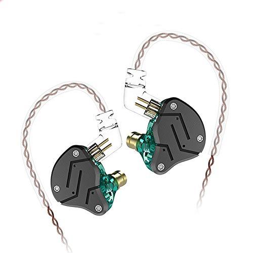 KZ ZSN Hybrid Driver IEM Detachable Tangle-Free Cable Musicians (Black Cyan)