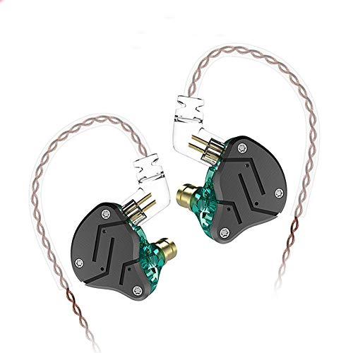KZ ZSN Hybrid Driver IEM Detachable Tangle-Free Cable Musicians (Black Cyan)