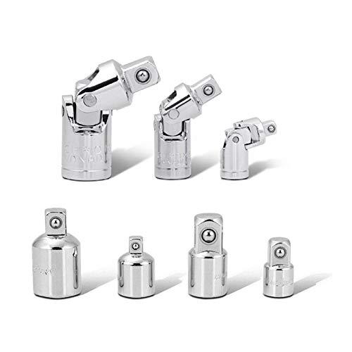 FangFang 7-teiliges Set Joint, Socket Antrieb Adapter und Reducer Set, 1/4 Zoll 3/8 Zoll 1/2 Zoll Steckschlüsselsatz Steckschlüssel-Set (Color : Silver)