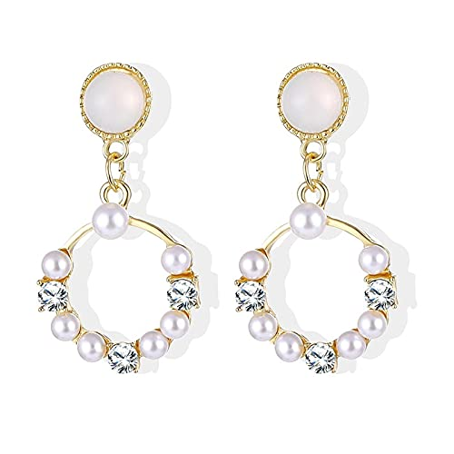 FEARRIN Pendientes de Oro Vintage Pendientes Colgantes Redondos de círculo Grande para Mujer Pendiente de Perlas simuladas Joyería Regalos de Boda Bijoux LNI1308E