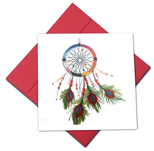 Quilling Card 3D Dream Catcher Quilled Happy Birthday Paper Handmade - Design Greeting Card for Christmas Birthday Anniversary Mother Thank You - Design Gift for Friend Love Mom with Envelop