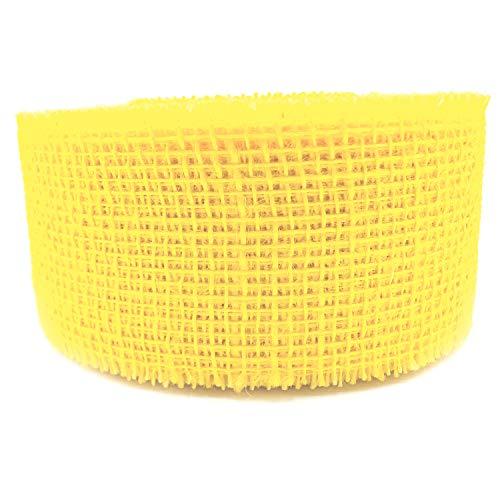 finemark Cinta decorativa de yute de 25 m x 60 mm, color amarillo claro, para regalo, 6 cm, cinta de malla de yute natural, sostenible, decoración de Pascua y otoño, paquete de regalo