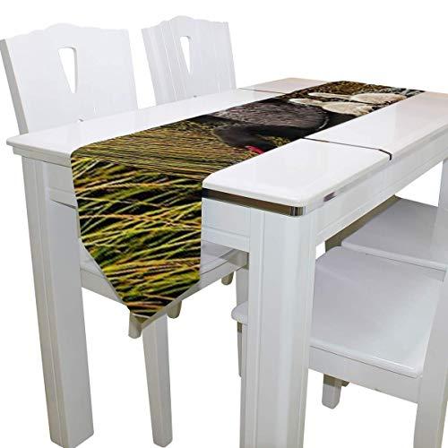 N/A eettafel loper of dressoir sjaal, ouders zwanen zwart dek tafelkleed loper koffie mat voor bruiloft partij banket decoratie 13 x 90 inch