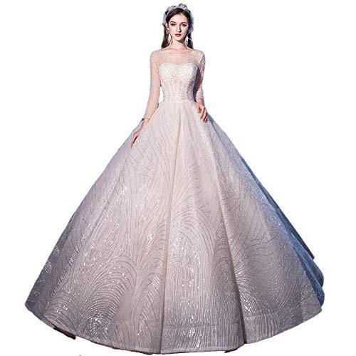 WJHXYD bruid met lange mouwen prinses sterrenhemel droom bruidsjurk