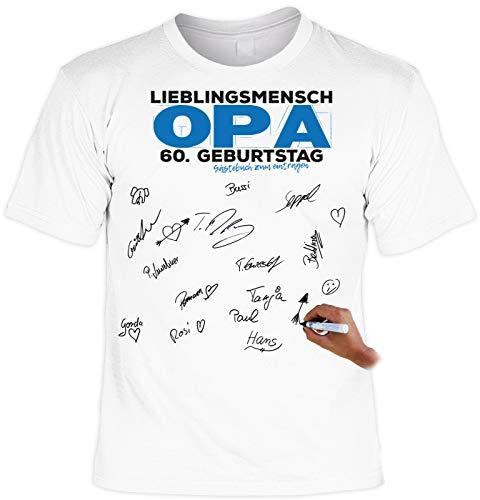 Geschenk zum 60. Geburtstag 60 Jahre Opa T-Shirt inkl. Permanent Marker Lieblingsmensch Opa 60. Geburtstag Gästebuch zum eintragen 60-jähriger