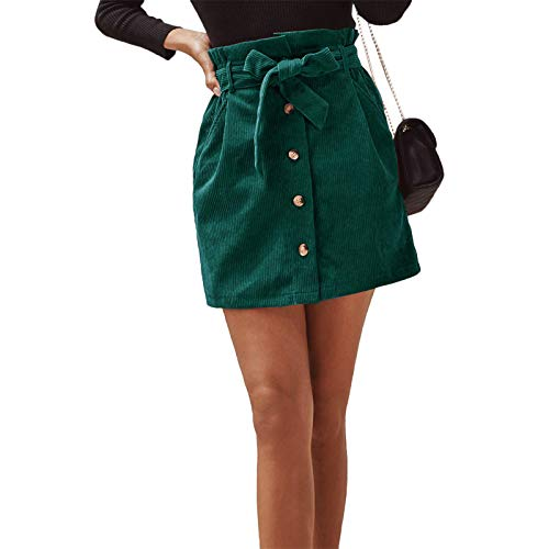 Geagodelia Falda de Pana de Color Sólido para Mujer con Cintura Elástica Minifalda con Cinturón Ajustable...