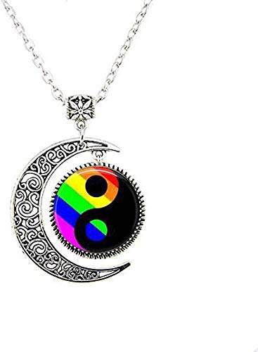 LGBT Gay Pride Jewelry Ying Yang Moon Necklace Friends Gift Vintage Art Photo Jewelry Handmade Jewelry
