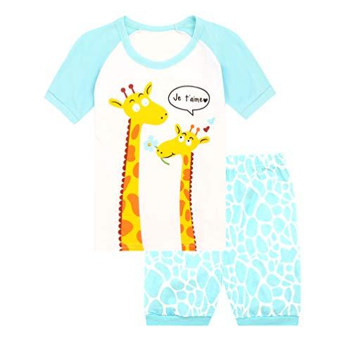 JNKLWPJS Girls Pajamas Set Toddler Pjs Clothes Kids Short Sleeve 100% Cotton Sleepwear 2-Giraffe 12 Months