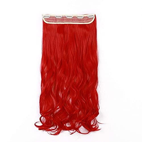 Vermelho, encaracolado, moderno, 66 cm, meia cabeça inteira, uma peça, 5 clipes de extensões de cabelo com clipe, extensão longa e reta