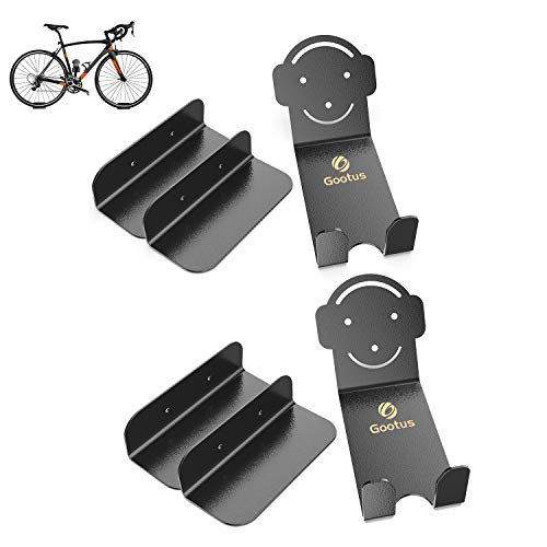 Horizontal Bike Wall Mount Bracket, Heavy Duty Bike Storage Rack Bicycle Holder for Garage and Apartment, Bike Pedal Hook Bracket for Road, Mountain or Hybrid Bikes Indoor Outdoor(2 Pack)