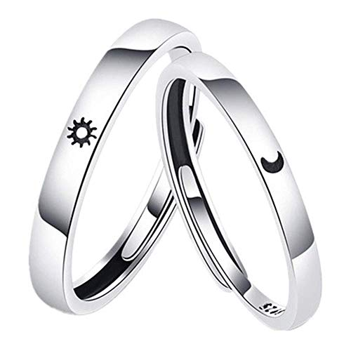 Amantes anillo S925 plata pura simple sol luna hombres y mujeres