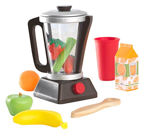 KidKraft Wooden Espresso Smoothie Set with Pretend Fruits & Vegetables Play Food, Removable Lid