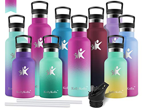 KollyKolla Vakuum-Isolierte Edelstahl Trinkflasche, 500ml BPA-frei Wasserflasche mit Filter, Thermosflasche für Kinder, Mädchen, Schule, Kindergarten, Sport, Wandern, Barbie Rosa & Macaron Grün