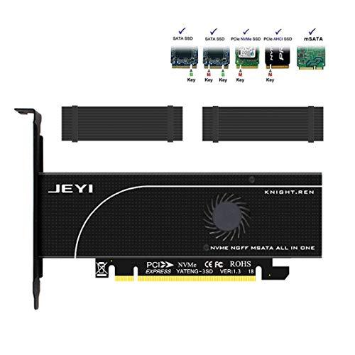 Dual M.2 und mSATA SSD Adapter Karten für M.2 NVME und AHCI auf PCIE, M.2 SATA Basis SSD zu SATA, mSATA zu SATA, 3 in 1 SSD Erweiterungskarte mit Kühlkörper und Lüfter Kühlsystem