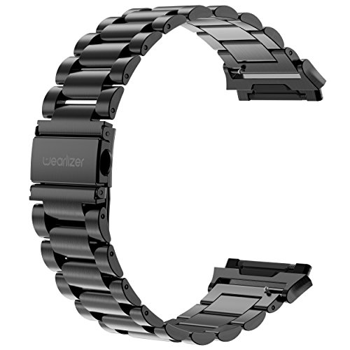 Wearlizer Stainless Steel Band Compatible for Fitbit Ionic Bands Women Men,Ultra-Thin Lightweight Replacement Band Strap Bracelet Compatible Fitbit Ionic Smartwatch Accessories Black