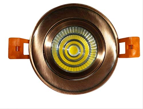 Proyector antiguo led Lámpara de techo de bronce verde downlight antiguo COB focos de bronce rojo focos dorados 10W abierto 90-100MM blanco cálido (B)