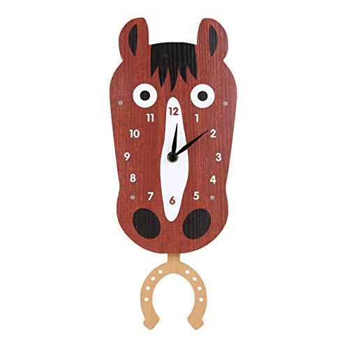 Belleashy - Reloj de pared infantil con diseño de cabeza de caballo oscilante y reloj de pared de madera MDF; reloj del profesor Easy Learn Time