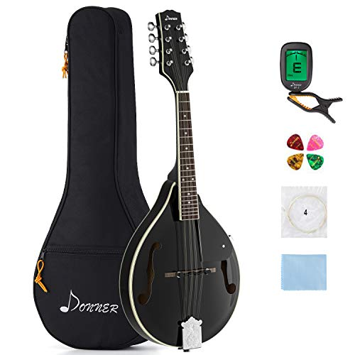 Donner Mandoline Instrument Mahagoni Schwarz mit Tasche Tuner Saiten Plektren (DML-100B)
